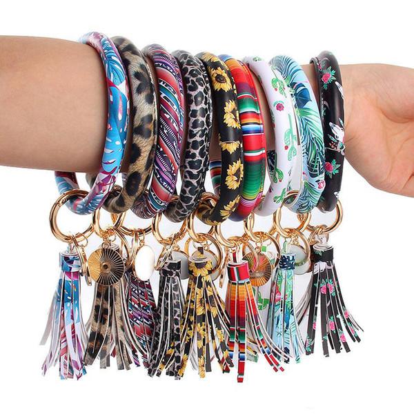 Cuir Wrap Bracelets Porte-clés Chaîne D'impression Léopard Bracelet De Goutte D'huile De Goutte De Tournesol Bracelet Porte-clés