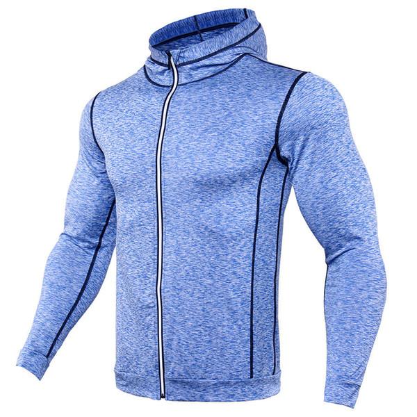 NUEVO Rashgard Sudadera con capucha para correr Camisa deportiva para hombre Camisa con cremallera para hombre GYM T Camiseta de entrenamiento de compresión Apretado