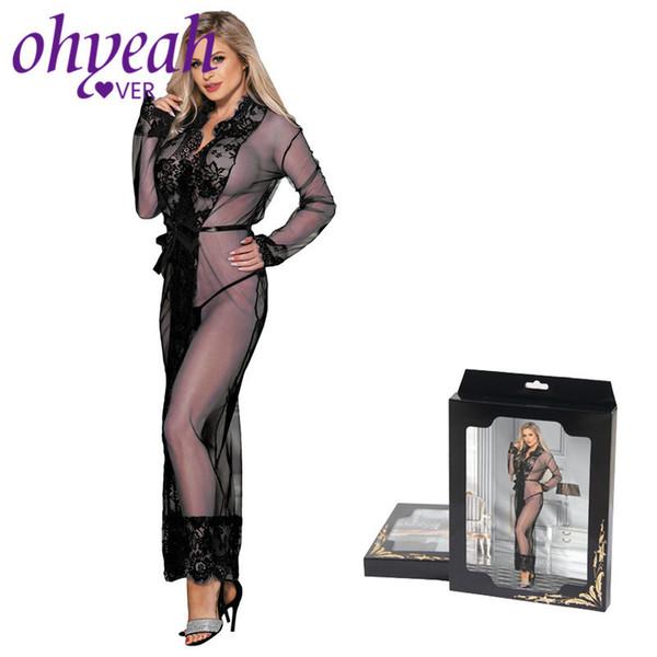 Ohyeahlover Lingerie Transparente Manches Longues Sexy Vêtements Dentelle Vêtements de Nuit Cils Sexe Robe Longue Chemise de Nuit Plus La Taille 5xl Rm80507 J190614