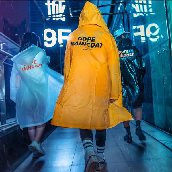 Raincoat Streetwear Cool Rain Men Cappotto lungo Hiphop Summer with Hat Sottili pelli di petrolio Yellow Students Raincoat di plastica all'esterno