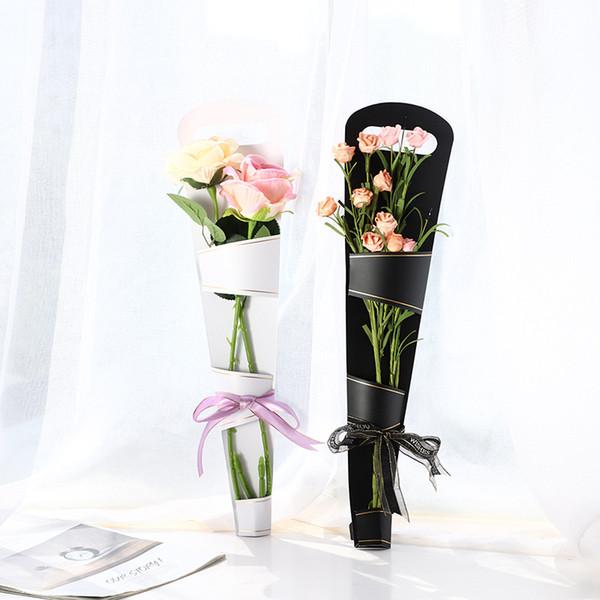 Boîte à fleurs fête des mères rose doré sac à main originalité plante verte papier sacs d'emballage boîtes noir blanc décor sac à main FFA2823