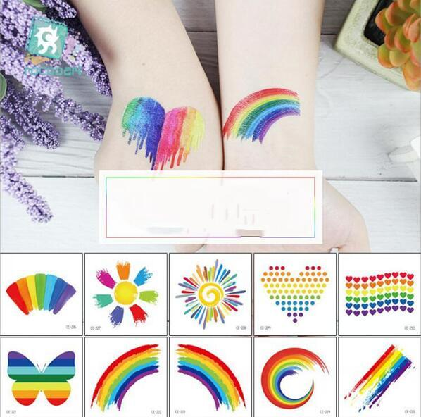 best selling Colorful Rainbow Tattoo Sticker Adult Kids 60*60mm Sticker Face Cosmetic Lovely Body Art Temporary Sticker Party Accessory Boys Girls Toys