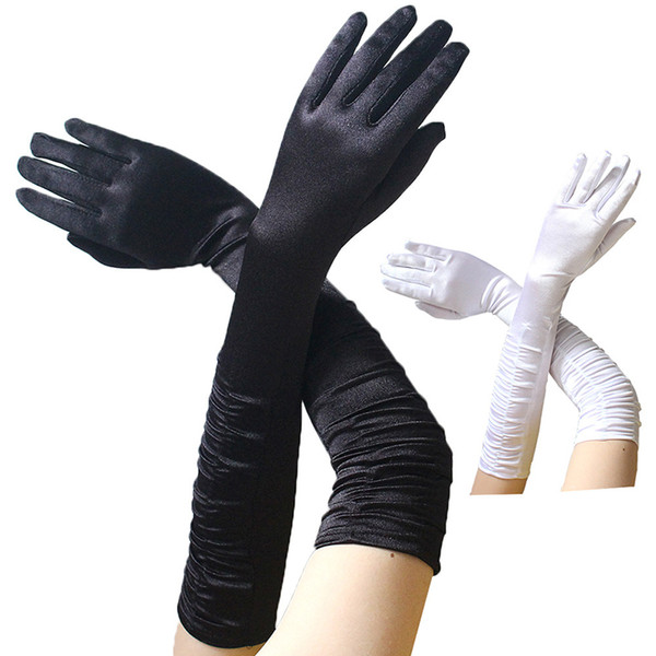 1 Pair New Fashion Women's Elbow Length Gloves Sexy Black White Long Satin Stretch Gloves for Ladies Girls Hand ZY9006
