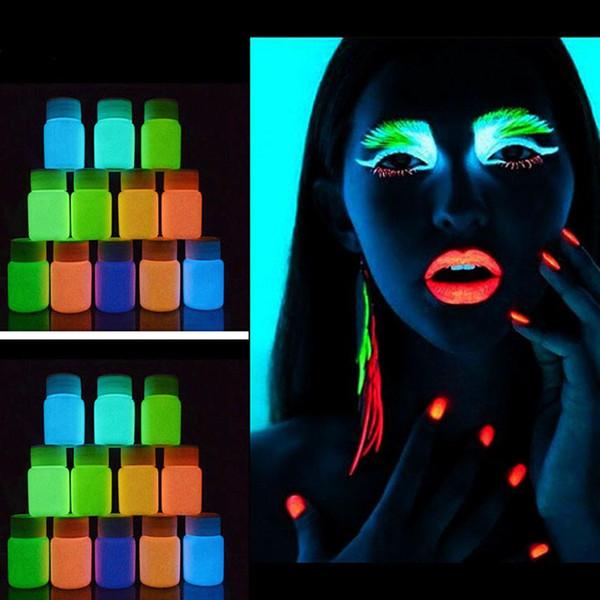 Nova Moda de Moda de Nova Chegada 1 pc UV Brilho Neon Pigmento de Tinta Corporal 20 ml e Fluorescente Super Brilhante Moda Pintura Acrílica