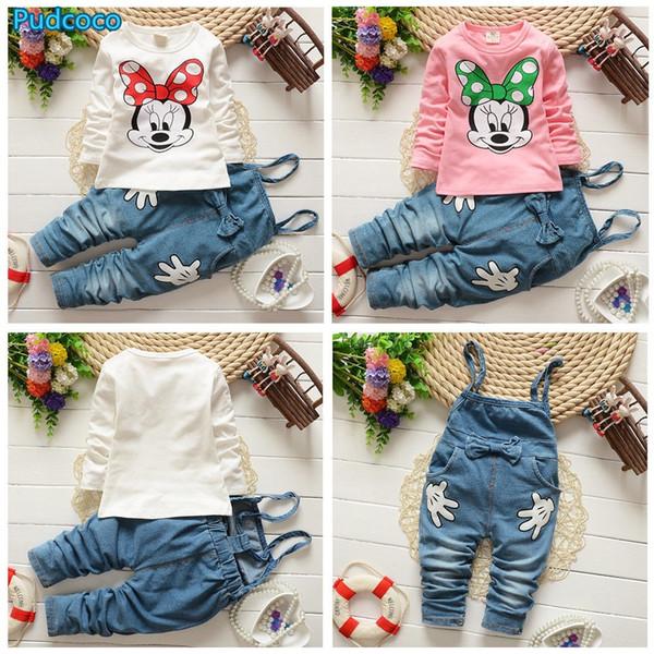 Venta caliente de las muchachas de la historieta del bebé remata la camiseta + del babero del dril de algodón pantalones casuales Trajes Set Costume