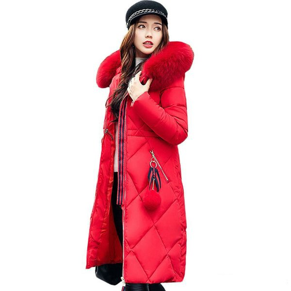 Big fur winter coat thickened parka women stitching slim long winter coat down cotton ladies down parka down jacket women 2018