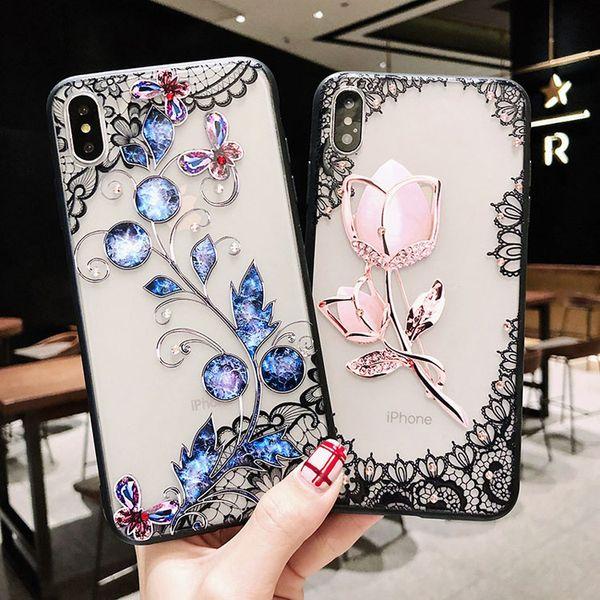 Venta al por mayor venta caliente TPU + PC encaje patrón Rhinestone plástico duro cubierta de la caja del teléfono celular para iPhone 7 8PLUS XR X MAX