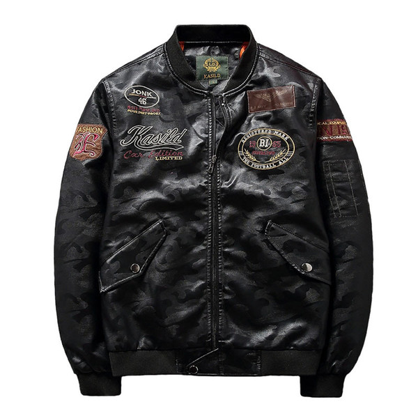 Lederjacke Männer Kleidung 2018 Streetwear Bomber Mantel Lässig Schwarz Motorrad Mäntel Faux PU Lederjacken Deri Ceket ZL1220