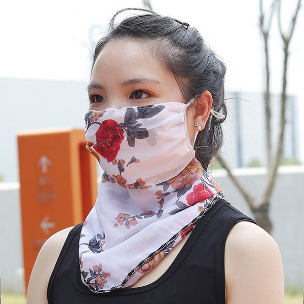 Flower Suncreen Scarf Spring Summer Bib Large Mask Outdoor Travel Neck Breathable Hair Band Full Face Best Anti-UV Chiffon Thin Veil Bandana