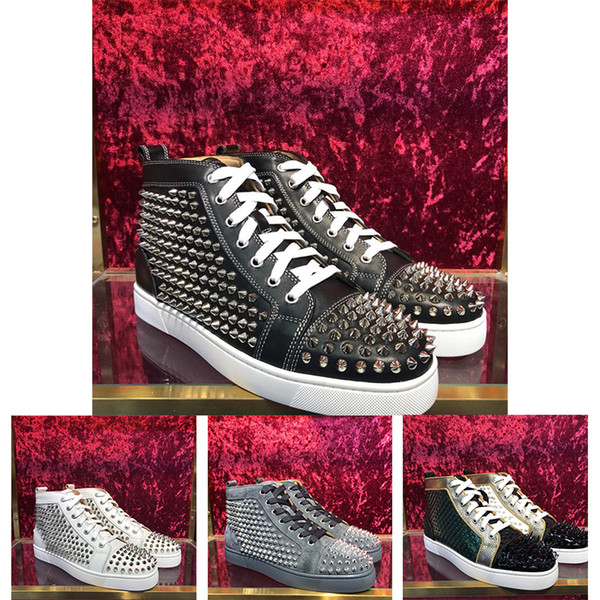 4e1c1d7ee79 2018 New Season Red Bottom Sneakers Men Casual Shoes Luxury Print Silver  Pink Pik No Limit RARE Studs And Rhinestones Graffiti Mens Boat Shoes Boat  ...