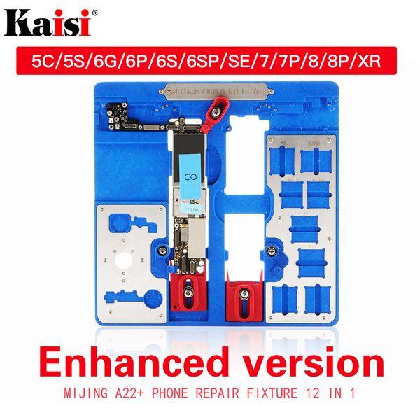 12 en 1 herramienta de reparación de soporte de PCB para iPhone 5C 5S 6G 6S 6P 6SP SE 7G 7P 8G 8P XR BGA Soporte de placa lógica abrazaderas de abrazaderas