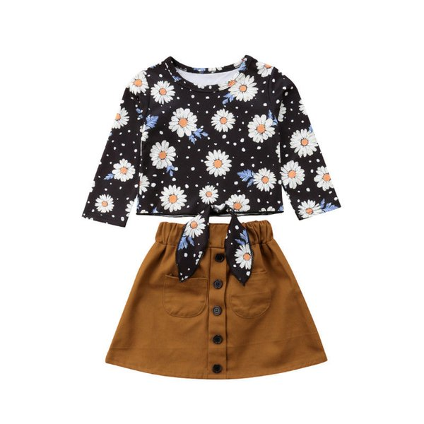 Sweet Kids Baby Girl Spring And Autumn Cotton Long Sleeve Clothes Set Daisy Floral Tops+Pure Color Skirt 2PCS Casual Outfits