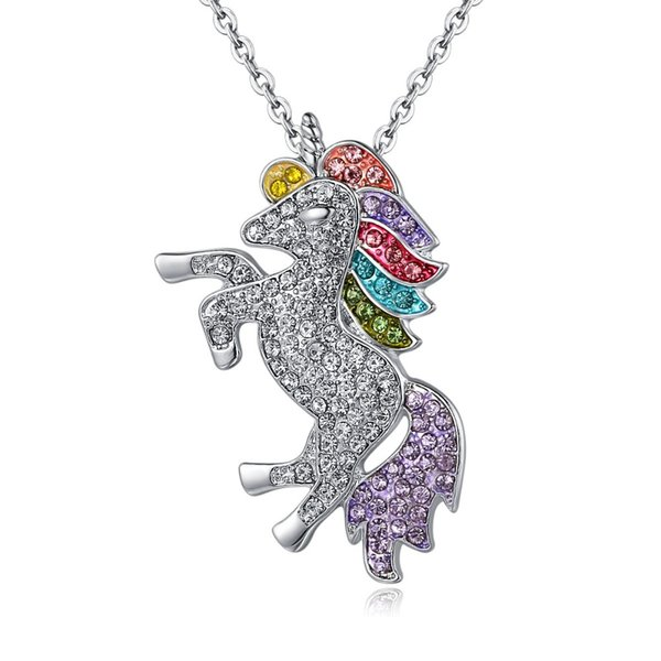 Horse Necklace For Girls Children Crystal Cartoon Horse jewelry accessories Women Animal Pendant Unicorn Party Christmas Gift