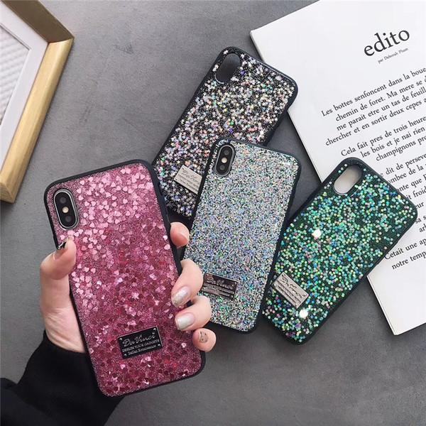DHL Free EGEEDIGI luxury shiny phone case for iPhone XS MAX XR X 7 Plus 8 6 6S Plus back cover flash Bling shiny for Iphone X case