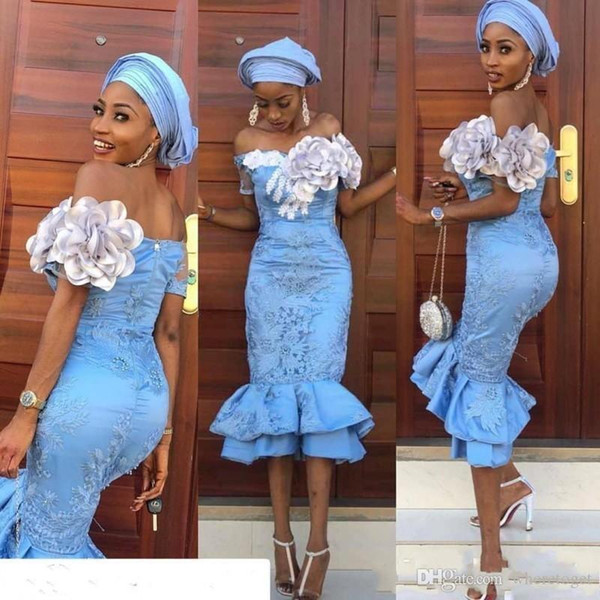 Sirena Charming sexy Prom Dresses senza spalline maniche corte fiori Handmade africani abiti di sera di pizzo nero ragazze formale Robe de mariée