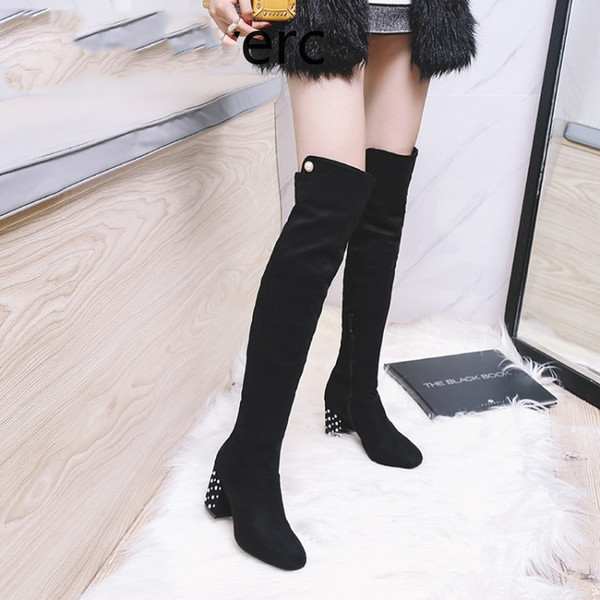 Autumn And Winter The New fashion Round head zipper pearl Thick heel mid heel Women's Over the knee boots plus size 33-47