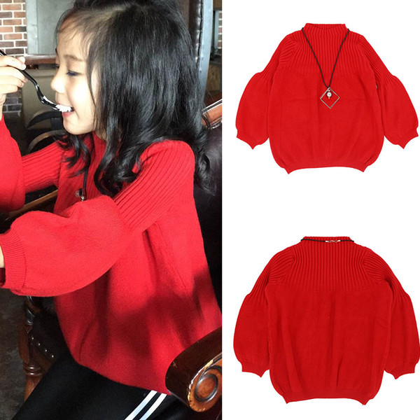 3-7t Autumn Winter Kids Girl Sweater Fashion Weave Warm Sweater Children Cotton Cardigan Knitwear Clothes Lantern Sleeve