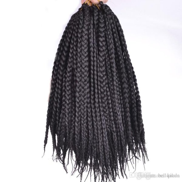 Synthetic Folded Twist Crochet Braids Cheap Hair Extensions 22roots/pcs Kanekalon Fiber Box Braids Crochet 6pcs/lot