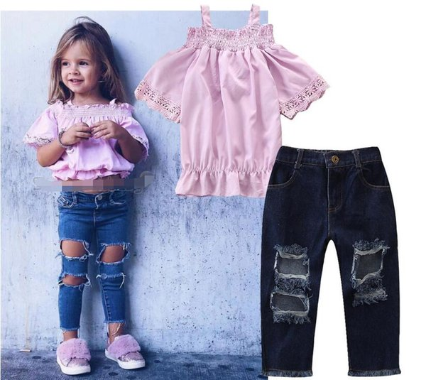 2019 new children's clothing Summer Baby Girls Set Sling Pink t Shirt + Ripped Jeans kids tops trousers suit