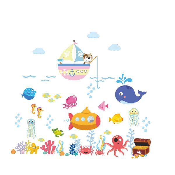 Стикеры Стены Главная Декор Стены Подводный Мир Наклейки для Детская Комната Спальня Украшения DIY Плакат Росписи Обоев Наклейки На Стены