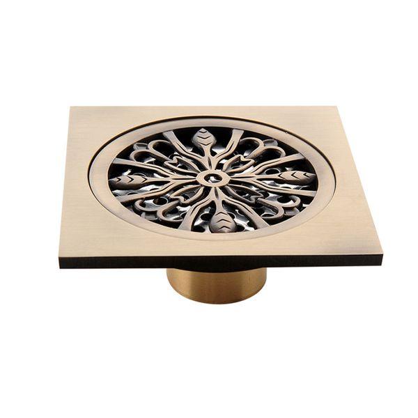 top popular 10*10cm Square Bathroom Drains Cover Solid Brass Gold Shower Drain Anti-odor Hair Strainer Balcony Floor Drain 2021