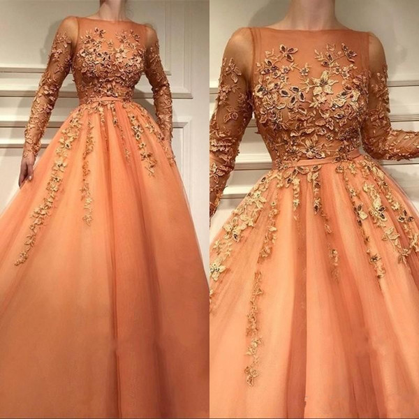 2020 New Luxury Orange Quinceanera Dresses Bateau Tulle Appliques Sheer Long Sleeves Puffy Prom Dress Plus Size Formal Evening Party Dress
