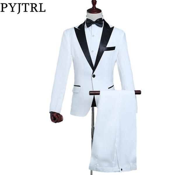 PYJTRL Mens Classic Black Lapel White Suits Stage Singer Costume Suit Men Latest Coat Pant Designs Slim Fit Tuxedos For Men C18122501