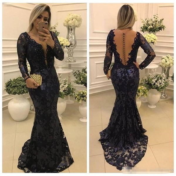 2018 Mermaid Full Lace Mother of the Bride Dresses Long Sleeve V Neck Sheer Back Long Dark Navy Mother Evening Gowns Maxi Customized