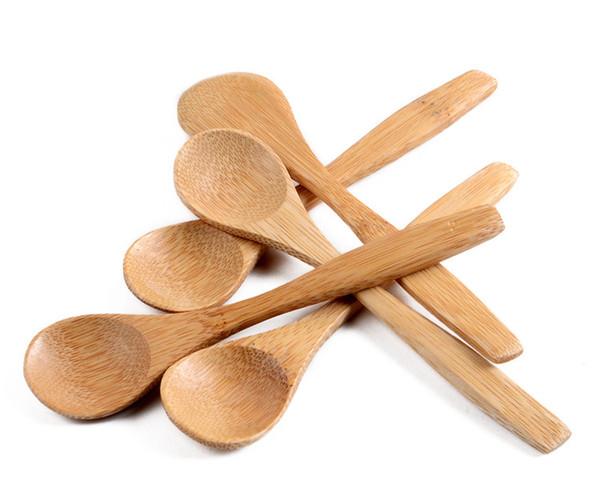 En gros vente chaude nouvelle 13cmx3cm Main Cuillères En Bambou Cuillère À Miel Bébé Cuillères Mini Cuillères Livraison gratuite