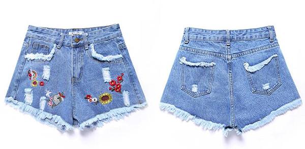 NEW Design High Waist Summer Denim Shorts 2019 Women Europe Style Hot Ripped Shorts Hot Fashion Fringe Black Jeans Shorts