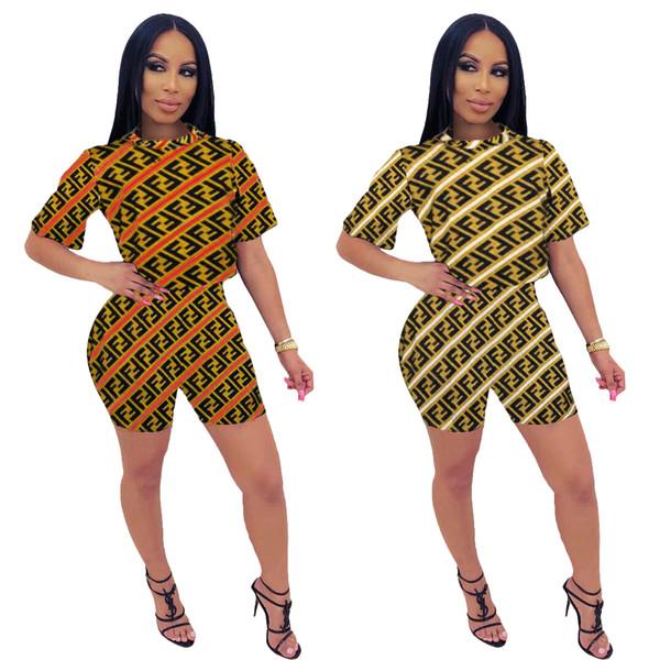 Mulheres de verão Lantejoulas Treino Cor Doces Tops FF Designer Tshirts Shorts Slim Fit 2 pcs Conjuntos de Roupas