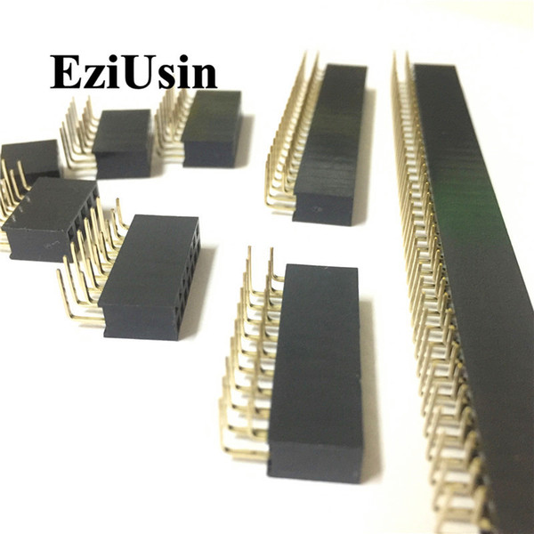 top popular Connectors 2.54mm R A Double Row Female 2~40P PCB Board Right angle Pin Header socket Connector Pinheader 2* 4 6 10 20 40Pin For Arduino 2021