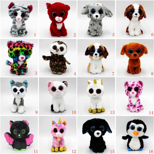 20 estilos Ty Beanie Boos Unicornio Peluches rellenos 15cm (6 pulgadas) Big Eyes Animals Muñecas suaves para bebé Regalos de cumpleaños juguetes B11