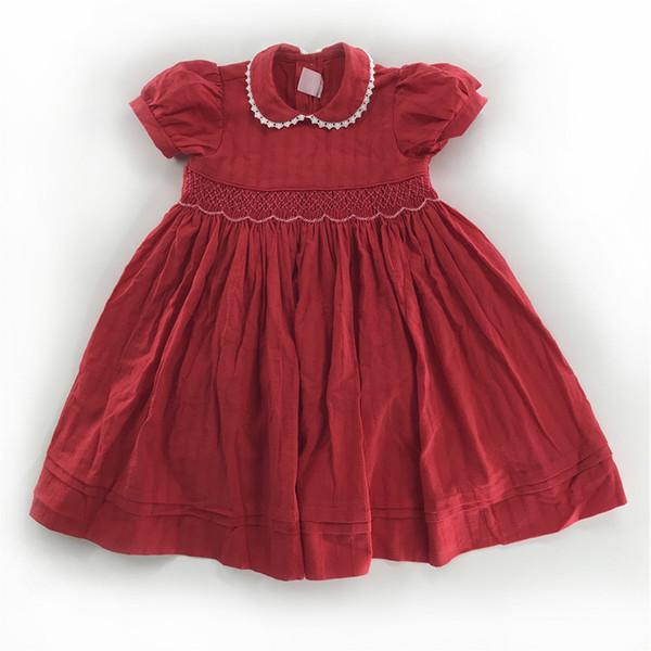 Euro Neue Sommer Mädchen Kleidung Kleid Kurzarm Haustier Pan Kragen Jacquard Weave Design Kleid 100% Baumwolle Sommer Mädchen Kleidung Kleid