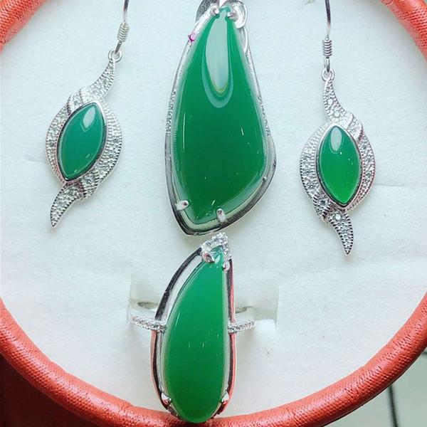 Takı Set Doğal Jade Meduller Kolye / Küpe / Yüzük Kadınlar Gümüş 925 Takı