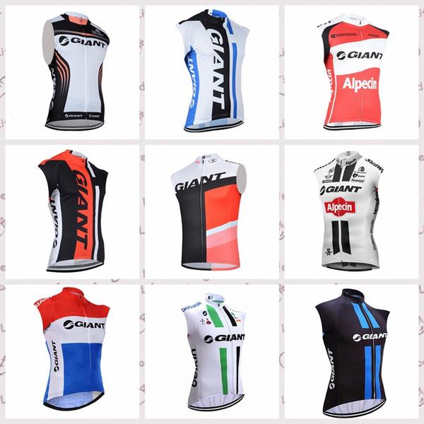 Maglia GIANT personalizzata in maglia da ciclismo senza maniche Maglia parasole estivo e comoda sportiva da uomo outdoor in maglia S653
