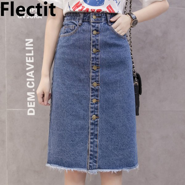 Flectit 2019 Button Front Midi Denim Skirt For Women Casual High Waist Fray Hem With Pocket Knee Length Jeans Skirt Female * J190626