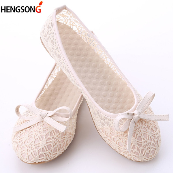 women flat shoes 2018 new summer lace shallow mouth shoes woman breathable sandals lace mesh ballet flats cute bow - from $27.37