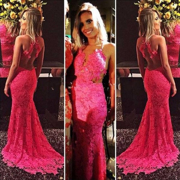 Sexy Hot Pink Lace Mermaid Long Prom Dresses 2018 Deep V Neck Backless Court Train Teens Evening Party Gowns vestido de festa