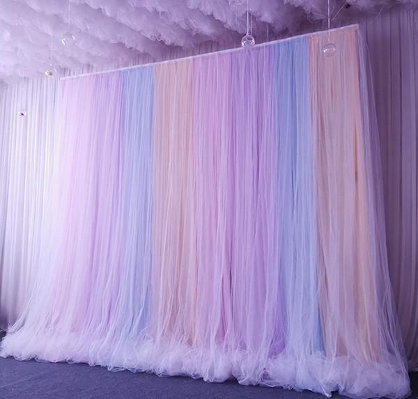 2020 wedding Backdrop Tulle Rainbow Wedding string Curtain Wedding background veil double background kids baby shower birthday cloth sash