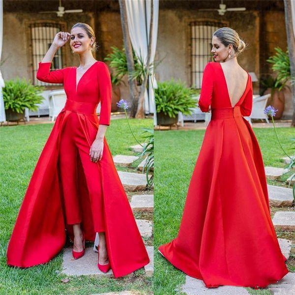 Monos Prom Vestidos de noche con sobrefalda el satén rojo vestidos de noche formales de las mujeres del partido del vestido de noche de la alfombra roja profundo cuello en V sin respaldo