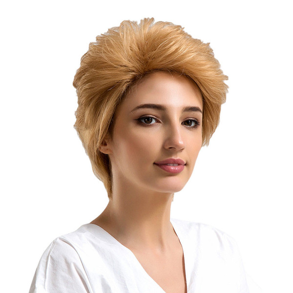 Ladies Fashion Wig Short Curly Light Blonde Natural Human Hair Women's Wig>>>>Free shipping New High Quality Fashion Picture wig