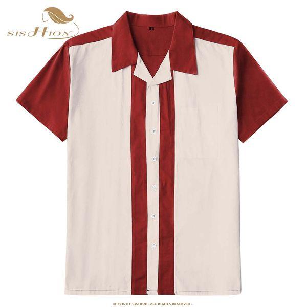 SISHION 2019 Camisa casual de verano ST127 Algodón de manga corta L-3XL Tallas grandes Vintage Retro Bowling Camisa de hombre