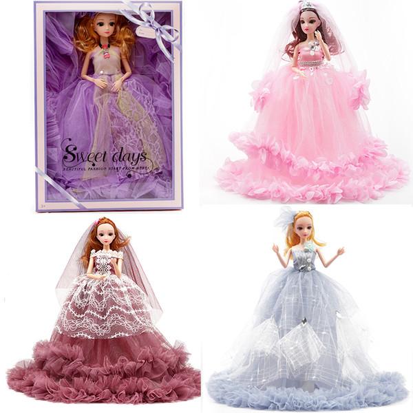 "Style mixed 16"" 40cm Princess Dolls Wedding dress baby doll children Girl Toy Gift ornament Color Box fashion big billowing skirt hemline"