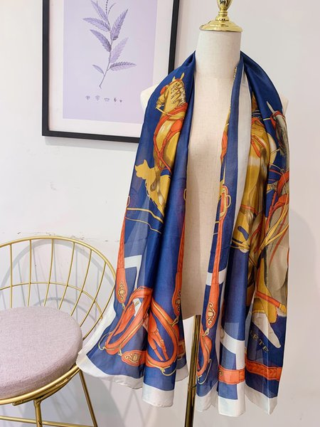 luxury design women orange soft silk scarves long 5 horse print shawls 180*90cm soft silk shawls