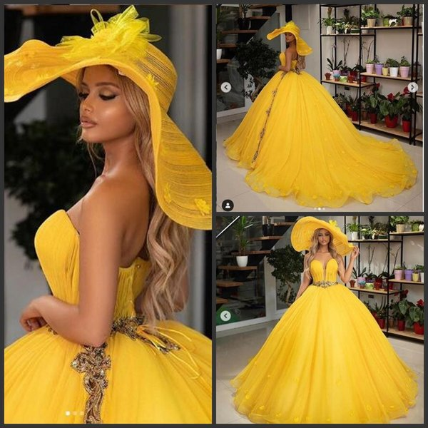 Yellow Tulle Ball Gown New Black Girls Prom Dresses 2019 Long Arabic Evening Formal Dresses Party Gown Cocktail paolo sebastian