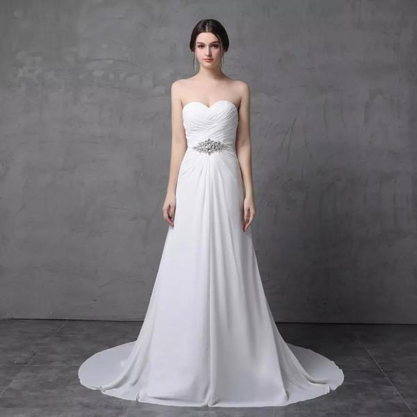 HI'Lian простой линии шифон свадебное платье с горный хрусталь пояса милая без бретелек длинные свадебное платье настоящее фото пляж свадебное платье