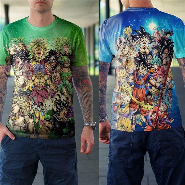 Dragon Ball 3D цифровая печать с коротким рукавом женские футболки Summer Loose O Neck Дизайнер Пары Топы