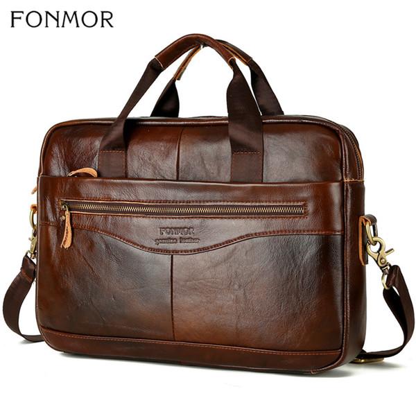 Fonmor Uomini computer portatile della cartella-Bag Crossbody Bag-borse-pelle bovina genuina-pelle marrone Viaggio di lavoro di grande capacità tracolla CJ191210