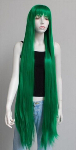 WIG free shipping Green Extra Long Straight Cosplay Women's Wig
